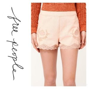 Free People Floral Embroidered Lace Trim Shorts